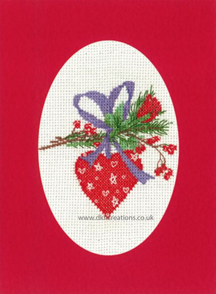 Sue Hill Christmas Heart Bauble Greeting Card Red Cross Stitch Kit